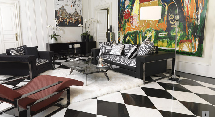 Styleture notable designs functional living spacescrossover between fashion interior - Versace living room design ...