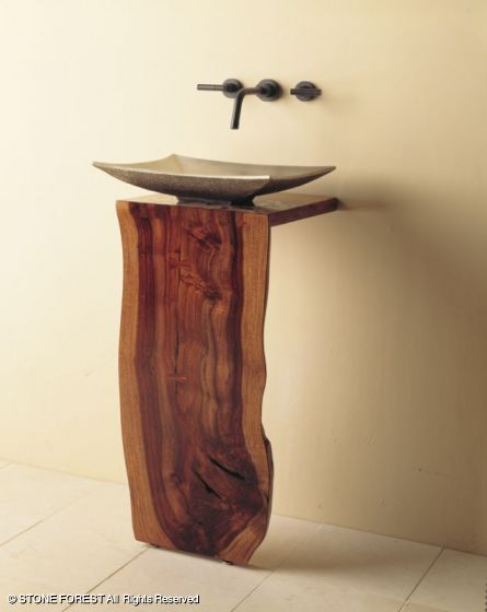 Wood L Slab Pedestal Sink