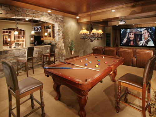 Man Cave with Nice Pool Table