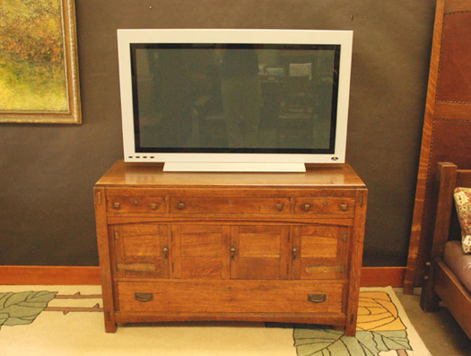 Vintage Limbert Buffet Sideboard with Four Arched Doors, Strap Hinges and Through Tenon