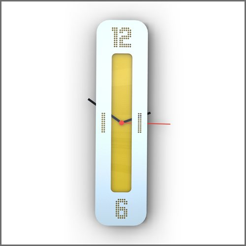 Front of Yellow Vertical Clock