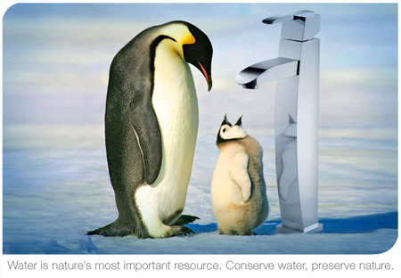 penguins and faucet