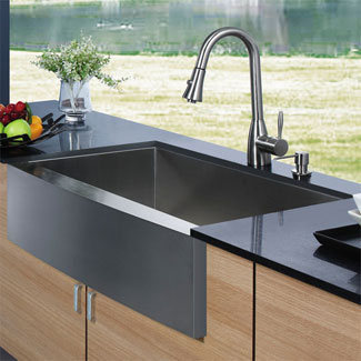 The Vigo Farmhouse Stainless Steel Kitchen Sink Faucet and Dispenser